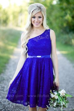 New 2016 Arabic Cheap Royal Blue Lace Short Bridesmaid Dresses Knee Length Junior One Shoulder Country Formal Bridesmaids Gowns For Weddings
