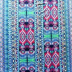 The Fabric Fairy Colorful Vertical Ikat Stripe Nylon Spandex Swimsuit Fabric, Cool Colorway