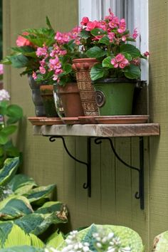 Window Box alternative-- for Garage windows. Window Shelves, Plant Shelves, Window Boxes, Shelf, Window Ledge, Box Shelves, Window Sill, Garden Deco, Flower Boxes