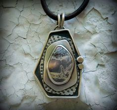 porcelain jasper pendant sterling silver by Q2jewelrycollection, $185.00