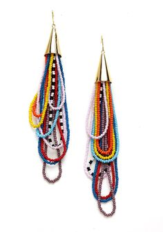 seed bead drop earrings- so colorful and fun. I can see a necklace like this with glass headpins mixed in.