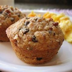 Oatmeal Chocolate Chip Muffins   For a fast breakfast or after school snack. Alterations I make: replace white flour with whole wheat, replace oil with mashed white beans or applesauce, ADD VANILLA, do only 3 tsp baking powder, replace pecans with slivered almonds. VERY YUMMY and a healthy quick breakfast!