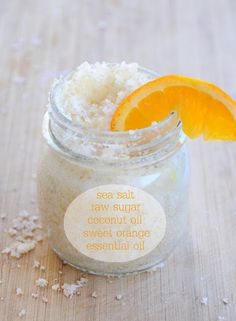 DIY: Summer Scrub: 1/2 cup sea salt, 1/3 cup raw sugar, 1/4 cup coconut oil and about 30 drops of orange