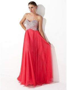 A-Line/Princess Sweetheart Floor-Length Tulle Charmeuse Prom Dress With Beading (018004812) - JJsHouse