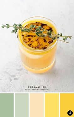 a lemon-cocktail-inspired color palette // soft green, light peach, yellow // recipe and photo by Umami Girl Color Schemes Colour Palettes, Green Color Schemes, Pastel Colour Palette, Room Color Schemes, Peach Palette, Green Colour Palette, Color Limon, Peach And Green, Light Peach