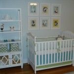 preppy boy nursery, aqua, blue, green, white