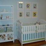 preppy boy nursery, aqua, blue, green, white