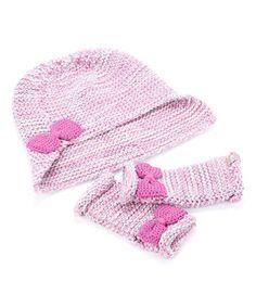 Love this Sweet Purple Bow Beanie & Fingerless Gloves on #zulily! #zulilyfinds
