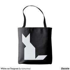 White cat Tangram Tote Bag