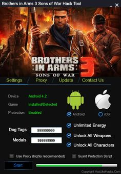 We want to present you an amazing tool called Brothers in Arms 3 Hack Tool. With our trainer you can get unlimited Dog Tags and Medals, Unlimited Energy etc