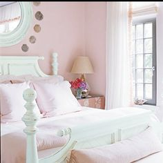 Pink Bedroom Design Ideas, Pictures, Remodel, and Decor - page 2 Pink Green Bedrooms, Pink Room, Bedroom Green, Home Bedroom, Girls Bedroom, Bedroom Decor, Preppy Bedroom, Master Bedroom, Shabby Bedroom