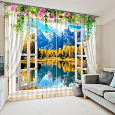 Beautiful Window View of Mountains&Forest Print 3D Curtain on sale, Buy Retail Price 3D Scenery Curtains at Beddinginn.com