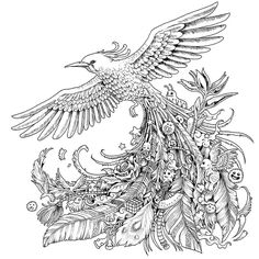 Animorphia Coloring Pages Free Artist Colouring Page Bird Coloring Pages, Adult Coloring Book Pages, Doodle Coloring, Printable Coloring Pages, Coloring Books, Hummingbird Colors, Art Doodle, Valentines Day Coloring Page, Motifs Animal