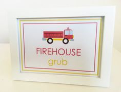 Fire Truck Party Food Table / Treat Table Sign - 5x7 - Birthday Party Decoration on Etsy, $5.63 CAD