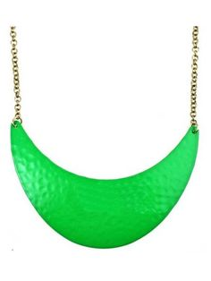 Neon Green Dappled Metal Crescent Collar Necklace