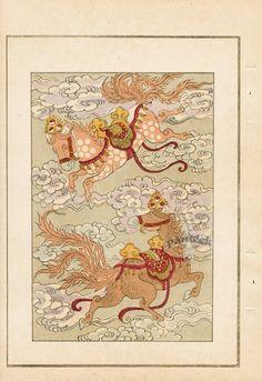 Japanese Woodblock Design Prints by Yohu Tanaka 1892 Japanese Folklore, Japanese Textiles, Japanese Patterns, Japanese Prints, Book Cover Design, Book Design, Design Design, Horse Illustration, Art Japonais