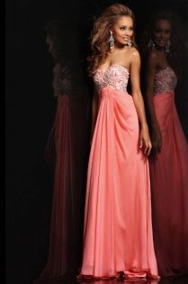 Strapless Coral Chiffon Long Prom Dress with Sweetheart Neckline and Beaded Bodice Bridesmaid dress