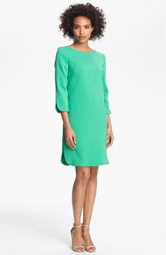 Split cuffs and side seams lend refined dimension to a smart, bateau-neck shift finished in a vintage-inspired A-line silhouette.  Eliza J Split Cuff Boatneck Shift Dress | Nordstrom