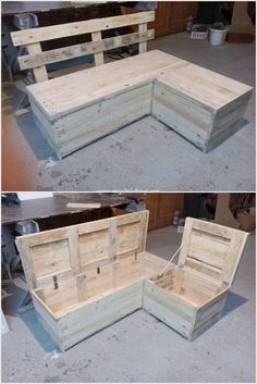 Pallet Wood Recycling Ideas Pallet Sofa Bench with Storage – Mobilier de Salon Pallet Garden Furniture, Reclaimed Wood Furniture, Diy Furniture, Wood Sofa, Refurbished Furniture, Outdoor Furniture, Furniture Styles, Recycled Pallets, Wooden Pallets
