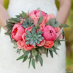 succulent peony wedding bouquet - Google Search