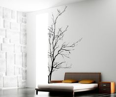 Stickerbrand Nature Vinyl Wall Art Bare Tree Branch Wall Decal Sticker - Black, x Easy to Apply & Removable. Wall Stickers Murals, Vinyl Wall Decals, Tree Decals, Vinyl Art, Family Room Walls, Tree Wall Murals, Bare Tree, Inspiration Wall, My New Room