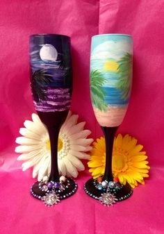 Hand painted day and night champagne glasses by Megthemama on Etsy