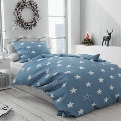 Bavlněné povlečení šedé modré bílé hvězdičky hvězdy vánoční moderní skandinávské Comforters, Blanket, Bed, Home, Creature Comforts, Quilts, Stream Bed, Ad Home, Blankets