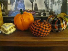 DIY fabric wrapped pumpkins, and chevron painted pumpkins for Halloween or Fall