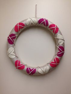 16 inch hand yarn wrapped argyle heart by marissasmerrymakings