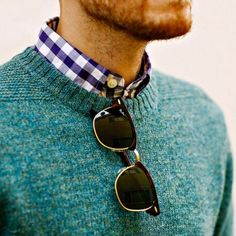 Gingham check, fishermans crew neck, raybans