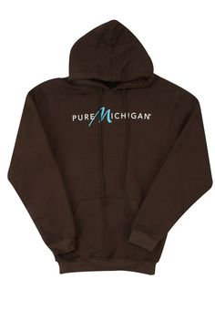 Stay cozy with this brown pullover hooded Pure Michigan sweatshirt