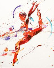 Sports Paintings - Gymnast Two  by Penny Warden