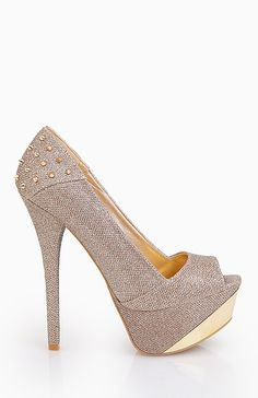 Glitter Platforms with Spiked Heel - love the neutral shade with edgey details.