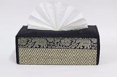 Handicraft Reed &Thai Silk Tissue Box Cover Home & Kitchen Decor Utensils