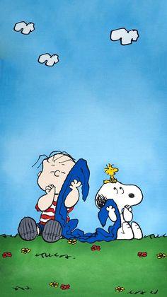 Snoopy, Woodstock, Linus & his blanket lol. Linus Peanuts, Peanuts Cartoon, Charlie Brown And Snoopy, Peanuts Characters, Cartoon Characters, Wallpaper Bonitos, Linus Van Pelt, Snoopy Und Woodstock, Looney Toons