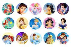Disney Princess Bottle Cap Image Sheet by RaspberryGraphics, $1.50