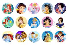 Disney Princess Bottle Cap Image Sheet by RaspberryGraphics, $1.50
