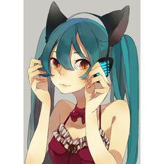 :3 animal ears aqua eyes aqua hair cat ears hatsune miku headphones... ❤ liked on Polyvore featuring anime, manga and vocaloid