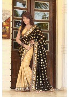 noir jacquard saree, - 93,00 €, #FabricSarI #EnLigneSari #SariPasCher #Shopkund