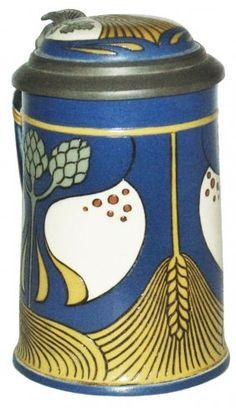 Art Nouveau Wheat & Hops Mettlach Stein W Inlay Ld