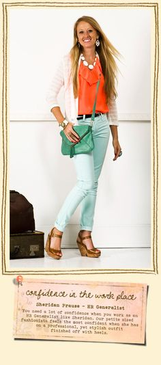 mint jeans orange shirt white sweater necklace mint purse---love it!!! and the model :)