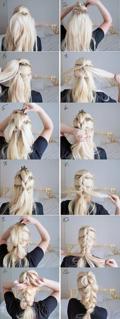 The chunky braid easy hairstyles step by step hairstyles hairstyle tu Braid Hairstyles, Cool Hairstyles, Hairstyles 2016, Hairdos, Beautiful Hairstyles, Teenage Hairstyles, Summer Hairstyles, Girls Braided Hairstyles, Easy Bun Hairstyles For Long Hair