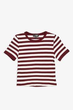 811d53a78c190d Short Sleeve Stripe Scallop T-Shirt Short Rayé