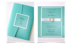 Tiffany themed wedding invites..... I could do a white wedding with Tiffany accents??? I have the ring, why not the wedding??