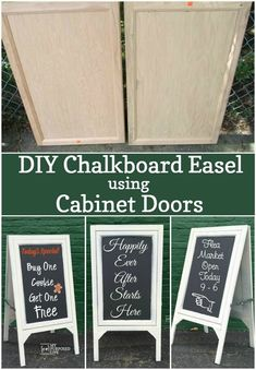 How to make a DIY chalkboard easel using 2 large cabinet doors and some scrap wood. Perfect for cafe, wedding or the kids!