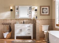 white bathroom vanity cabinet with ceramic basin Wooden Bathroom Vanity, Wood Bathroom Cabinets, Bathroom Vanity Makeover, Wood Vanity, Wooden Cabinets, Bathroom Vanity Lighting, Vanity Set, White Bathroom, Wash Basin Cabinet