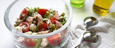 forel salade met mozzarella en sperzieboontjes