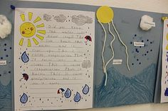 Simply Second Grade: The Water Cycle....write about it and then make it with cotton balls, yarn, sequins and construction paper!