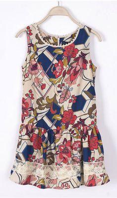 Sleeveless floral dress WQZ9367