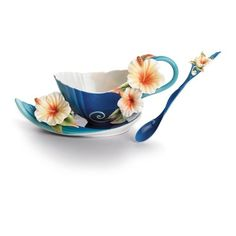 Franz Collection Tropical Beauty Floral Porcelain Tea Cup Set
